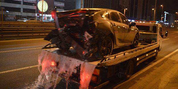 """Trafik magandasının E-5'teki """"makas terörü"""" kazayla sonuçlandı"""