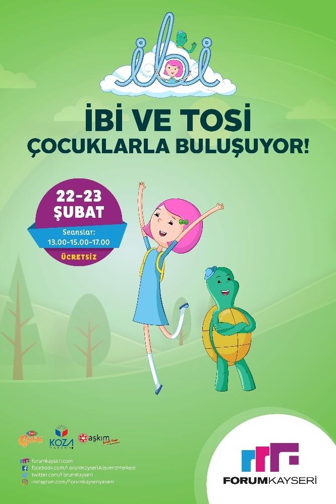 TRT Çocuk'un eğlenceli kahramanları İbi ve Tosi, Forum Kayseri'de hayranlarıyla buluşuyor