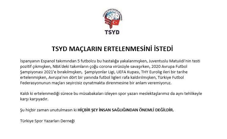 TSYD'den federasyona 'erteleme' çağrısı!