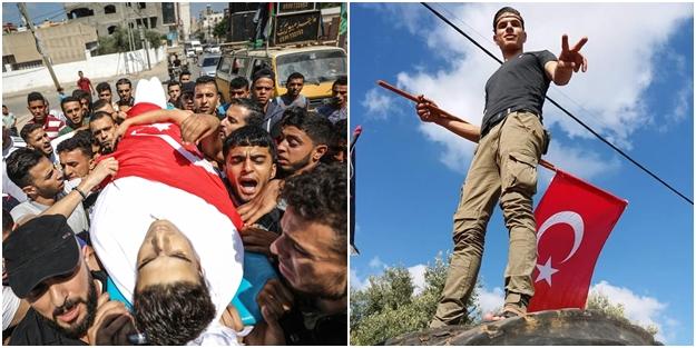 Türkiye sevdalısı Filistinli şehidi Türk bayrağına sardılar