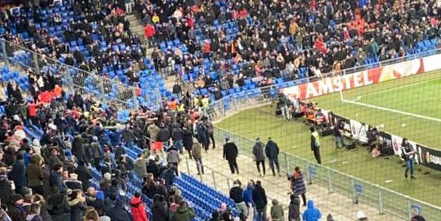 UEFA maçında ortalık karıştı! İsviçre'deki alçaklara Trabzonspor taraftarı haddini bildirdi