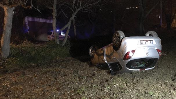 Uludağ yolunda otomobil devrilmesi sonucu 1 kişi yaralandı