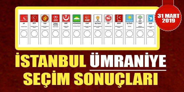 Ümraniye seçim sonuçları 2019 | İstanbul Ümraniye 31 Mart yerel seçim sonuçları Cumhur ittifakı Millet ittifakı oy oranı