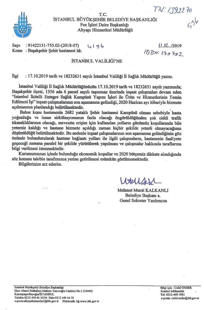 Valilik, Başakşehir Şehir Hastanesi'nin yol yapımına başlandığını duyurdu