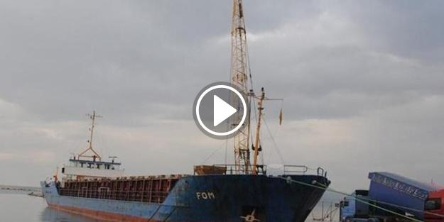 Yan yatan geminin personeli kurtarıldı