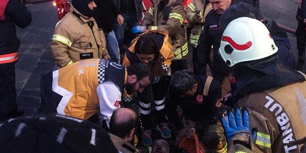 Yangına müdahale eden itfaiye eri çatıdan düştü