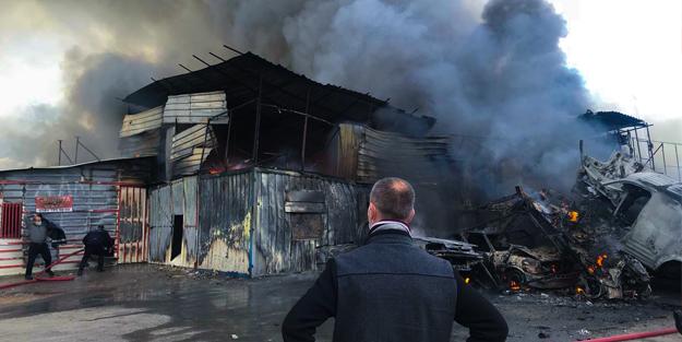 Yedek parça dükkanında korkutan yangın