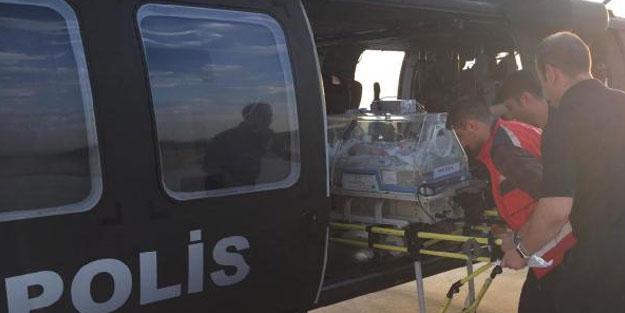 Yenidoğan Aydan bebek için polis helikopteri havalandı
