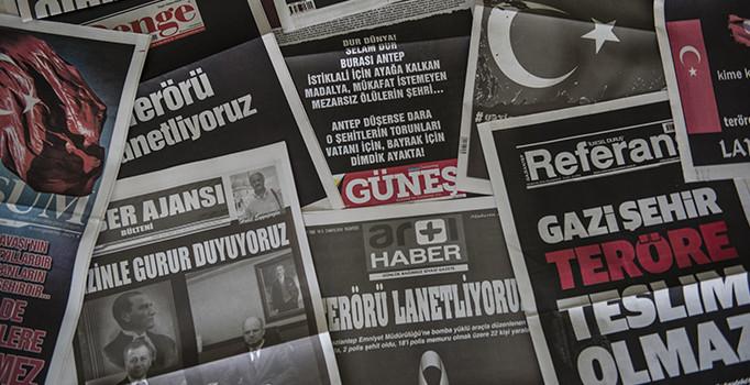 Yerel gazetelerden teröre 'siyah beyaz' tepki