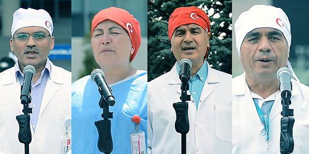 """Yunus Emre'ye ait şiiri seslendirdiler! Sağlık çalışanları """"sağlık için çal""""ıp söyledi"""