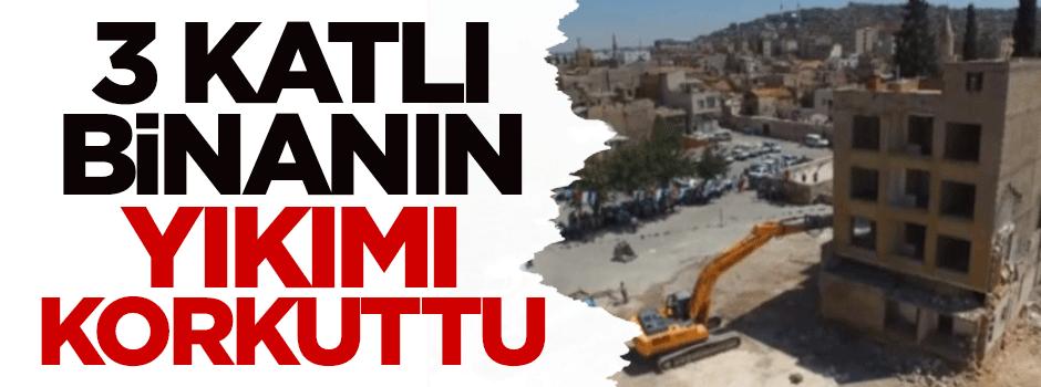 3 katlı binanın yıkımı korkuttu - VIDEO