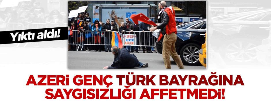 Azeri genç, Türk bayrağını Ermenilerden kurtardı