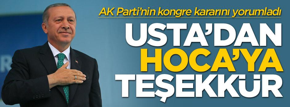 Erdoğan Davutoğlu'na teşekkür etti