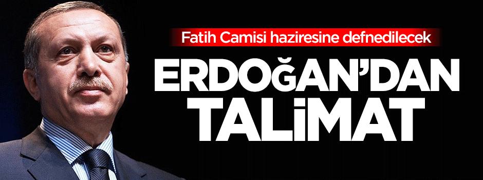 Erdoğan'dan talimat! Fatih Camii'ne defnedilecek