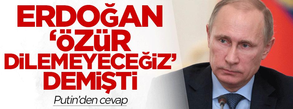 Erdoğan'ın 'özür dilemeyeceğiz' açıklamasına Putin'den cevap