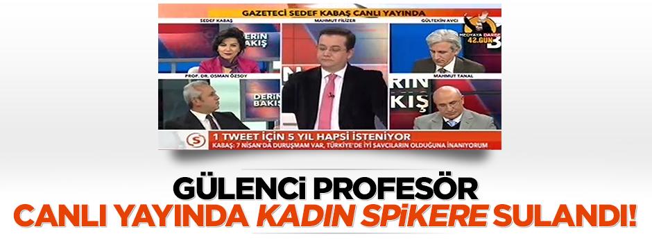 Gülenci profesör canlı yayında kadın spikere sulandı/VİDEO