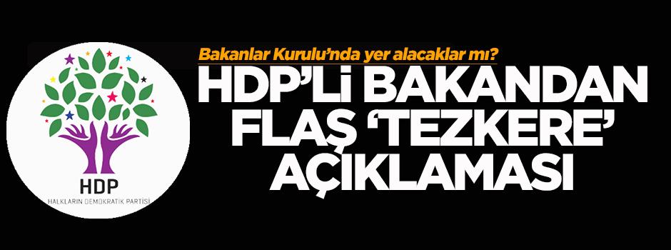 HDP'li bakandan flaş 'tezkere' açıklaması