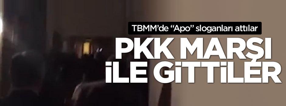 HDP'liler salonu PKK marşıyla terk etti