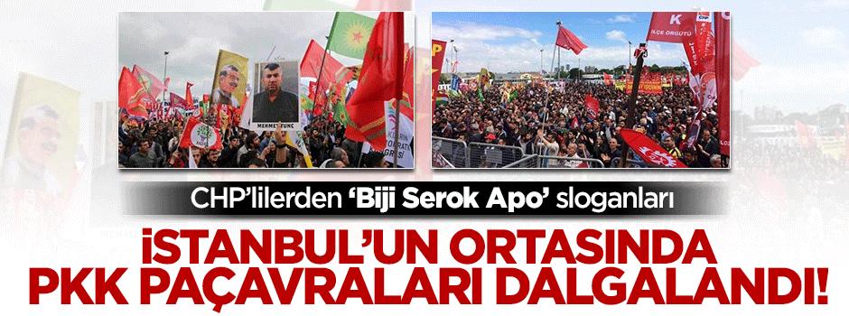 İstanbul'un ortasında PKK paçavraları dalgalandı!