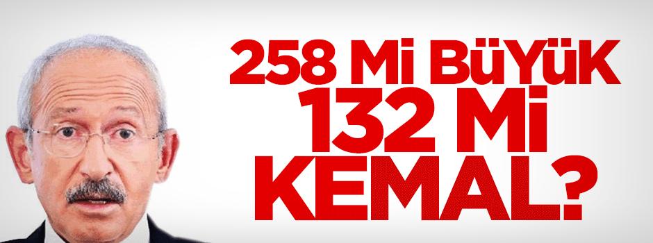 Kılıçdaroğlu 258 mi büyük 132 mi?