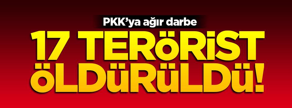 PKK'ya ağır darbe! 17 terörist öldürüldü