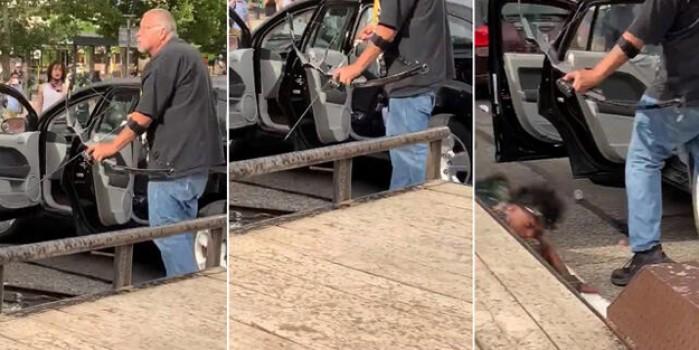 ABD'de protestocuları elindeki yay ve okla vuran adam tuhaf görüntülere neden oldu