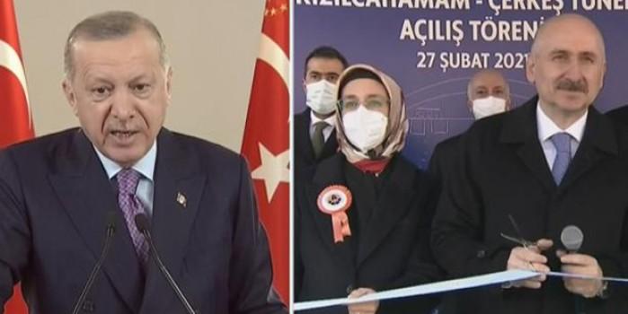 Açılış töreninde iki eksiği fark eden Cumhurbaşkanı Erdoğan, Bakan Karaismailoğlu'nu uyardı