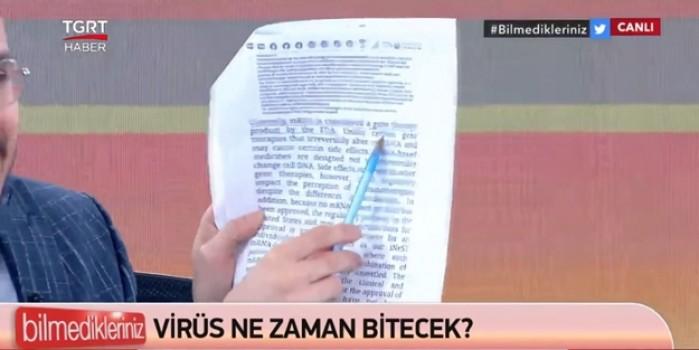 Biontech'in şoke eden raporunu canlı yayında çıkarıp gösterdi!