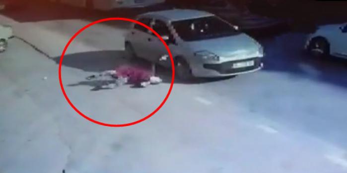 Bir anda yola atlayan kadın dehşeti yaşadı! O anlar kamerada