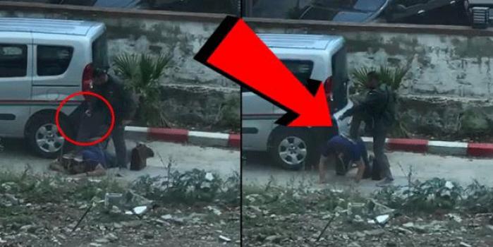Dehşete düşüren anlar kamerada! Haciz için gelen avukatı yere yatırarak kafasına silah dayadı
