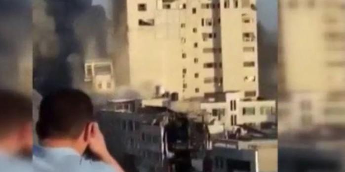 El-Şuruk Kulesi'nin vurulma anına ait yeni görüntüler ortaya çıktı