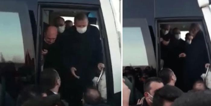 Erdoğan'ın otobüsünün önüne geçip,