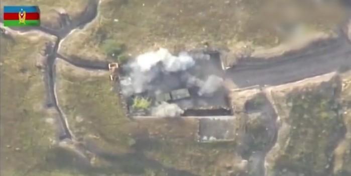 Ermenistan ordusuna ait mevzinin vurulma anı havadan görüntülendi