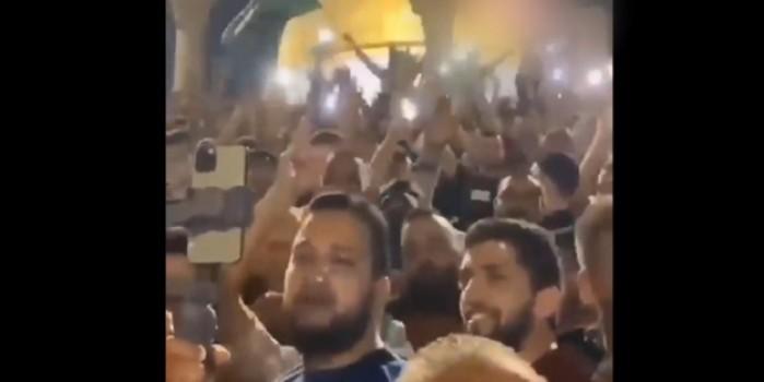 Filistin halkından Mescid-i Aksa'da Başkan Erdoğan sloganları
