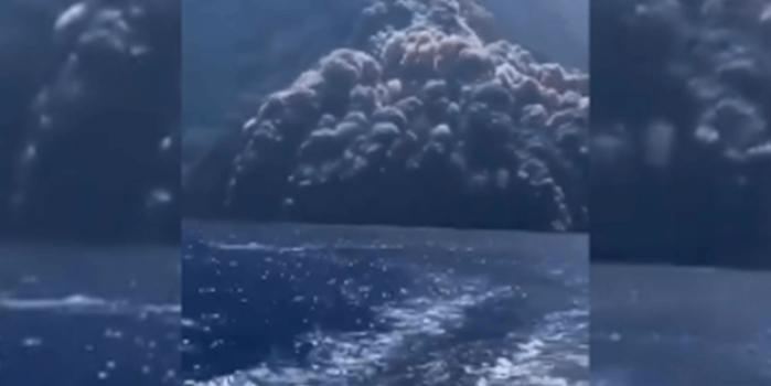 Film değil gerçek! İtalya'da volkanik patlamadan böyle kaçtılar