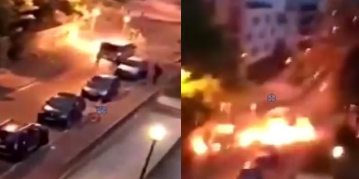 Fransa sokakları karıştı! Polis aracına pusu kurdular