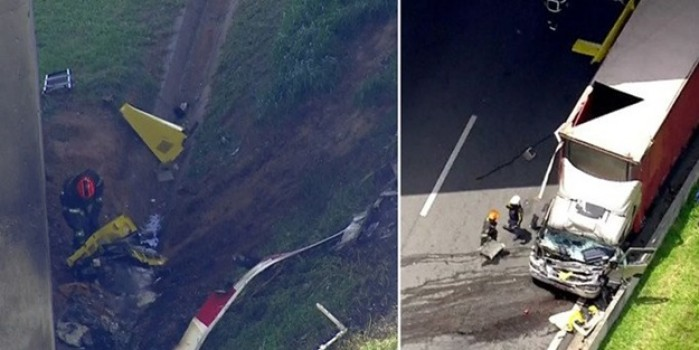 Görülmemiş kaza... İniş yapan helikoptere kamyon çarptı