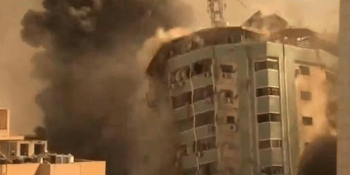 İsrail Gazze'de uluslararası televizyonların bulunduğu bir binayı vurdu!