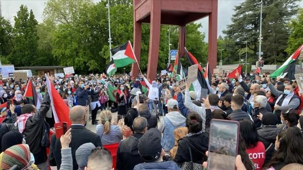 İsrail'in Mescid-i Aksa'ya yönelik saldırıları Cenevre'de Birleşmiş Milletler önünde protesto edildi