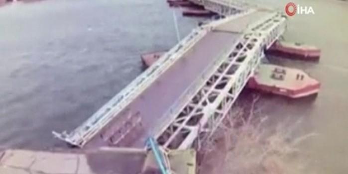 Köprü şiddetli rüzgarın gücüne dayanamadı