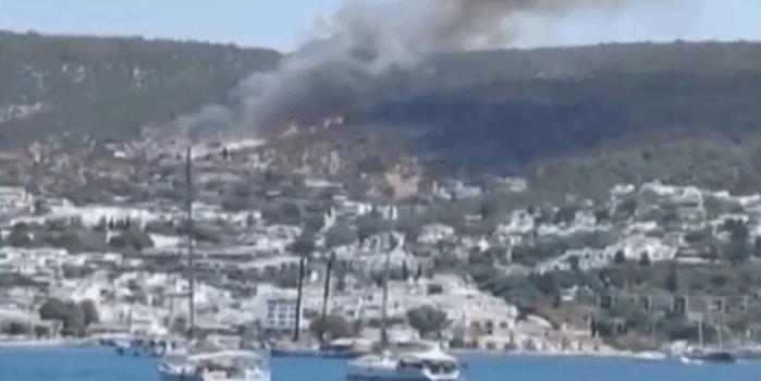 Muğla'nın Bodrum ilçesinde de yangın başladı