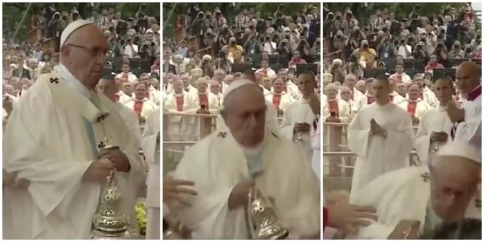 Papa böyle yere kapaklandı