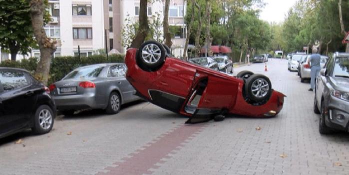 Sokak arasında arabayı ters takla attırdı!